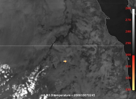 Asteroid 2008 TC3 seen from space in infrared.  Credit: EUMETSAT