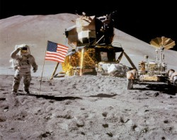 Astronauts need spacesuits to survive the temperature of the Moon. Image credit: NASA