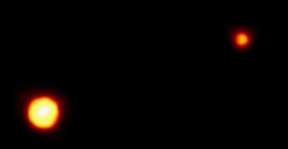 Hubble image of Pluto and Charon.  Credit: NASA