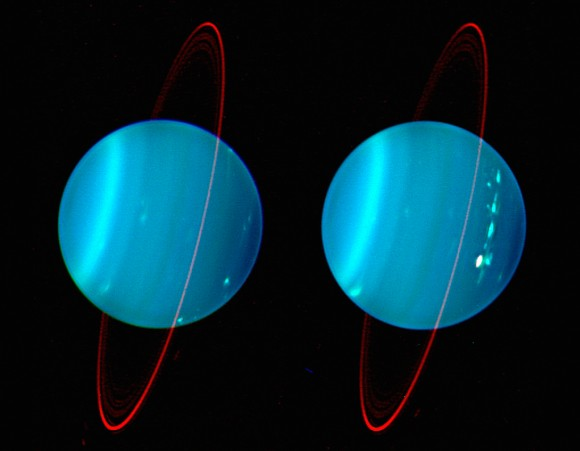 Uranus seen from Earth. Image credit: Keck