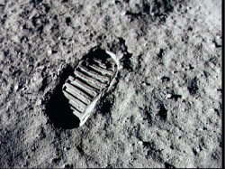 Footstep in the lunar regolith. Image credit: NASA