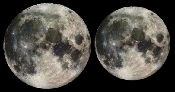 The Moon at its nearest and furthest points of its orbit. Image credit: NASA