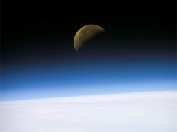 Quarter Moon, captured by NASA astronauts. Image credit: NASA