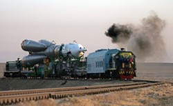 The Soyuz TMA-13 is transported to its launchpad for the Oct. 10th flight (AFP)