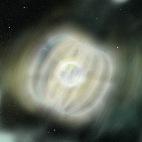 Illustration of the flare from magnetar Swift J195509+261406. A starquake is probably what triggered the object's 40 optical flares. Credit: NASA/Swift/Sonoma State University/A. Simonnet