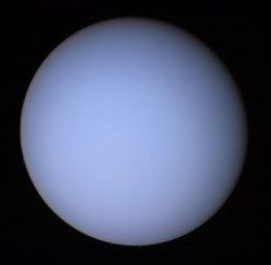 Uranus, seen by Voyager 2. Image credit: NASA/JPL