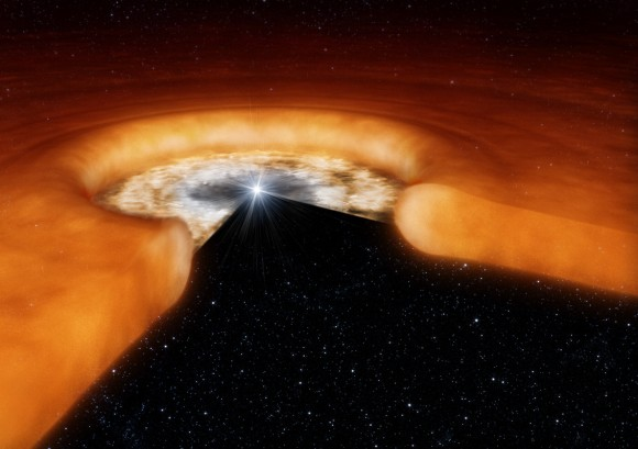 Artist's impression of a young star with surrounding disk of dust (ESO/L. Calçada)