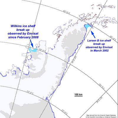 Map showing break-up events of Larsen-B and Wilkins ice shelves, as observed by Envisat, in Antarctica.   Credits: ESA