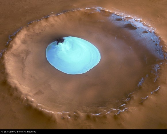 Water ice in a North Pole crater.  Credit: ESA/DLR/FU Berlin (G. Neukum).