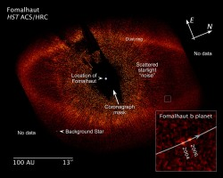 Direct observation of an exoplanet orbiting the star Fomalhaut - Number 6 in the top 10 (NASA/HST)