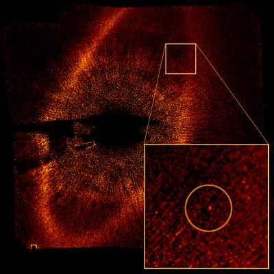 Fomalhaut and orbiting planet.  Credit: NASA, ESA and P. Kalas (University of California, Berkeley, USA) 