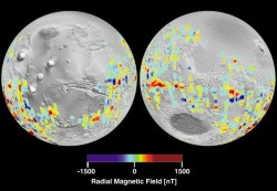 A map of Mars' magnetic fields - they're all over the place! Image Credit: NASA