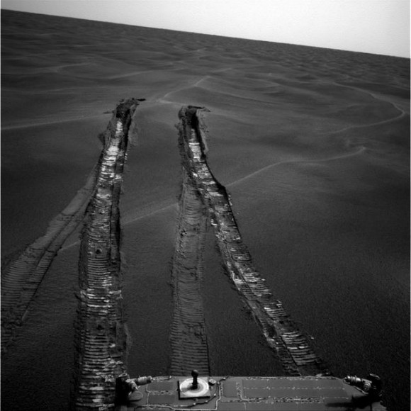 Opportunity looks back at Purgatory Dune after escape.  See the other dunes in the surrounding area.  Credit: NASA/JPL