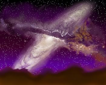An artist's impression of the collision between the Milky Way and Andromeda from Earth. Credit: James Gitlin/STScI.