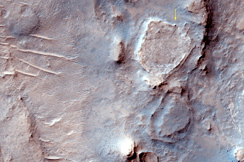 Home Plate is the raised plateau.  Spirit is the dark spot at the 1 o'clock position.  Image: NASA/JPL/University of Arizona