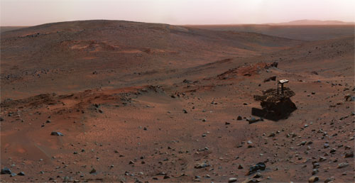 A special effect image of Spirit sitting on Husband Hill.  Credit: NASA/JPL/Cornell.  Rover model by Dan Maas