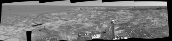 "Panoramic image with ""plank""-like rock. Credit: NASA/JPL/Cornell"