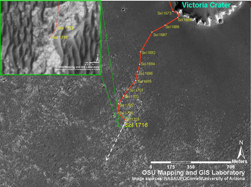 Opportunity's traverse map through Sol 1716 As of sol 1707 (Nov. 11, 2008), Opportunity's total odometry was 13,493.85 meters (8.38 miles).