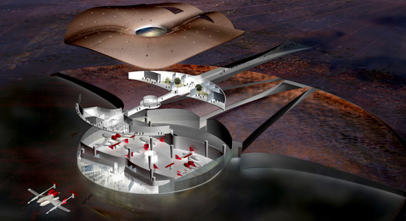 Cross section of Spaceport America.  Courtesy of NMSA