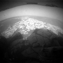 Recent view from Opportunity's hazard camera.  Credit: NASA/JPL/Cornell