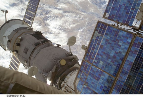 Soyuz docked with the ISS, in a photo taken during Monday's spacewalk.  Credit: NASA