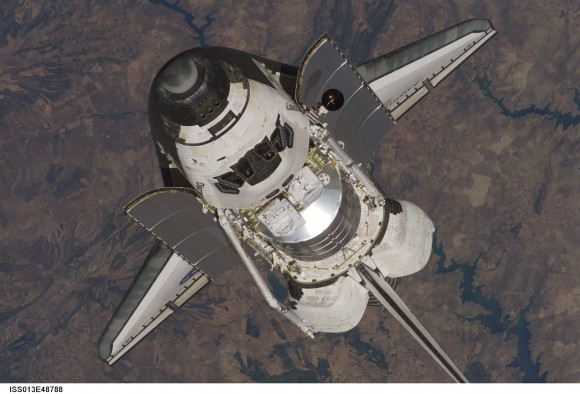 Space shuttle on approach to ISS.  Credit: NASA