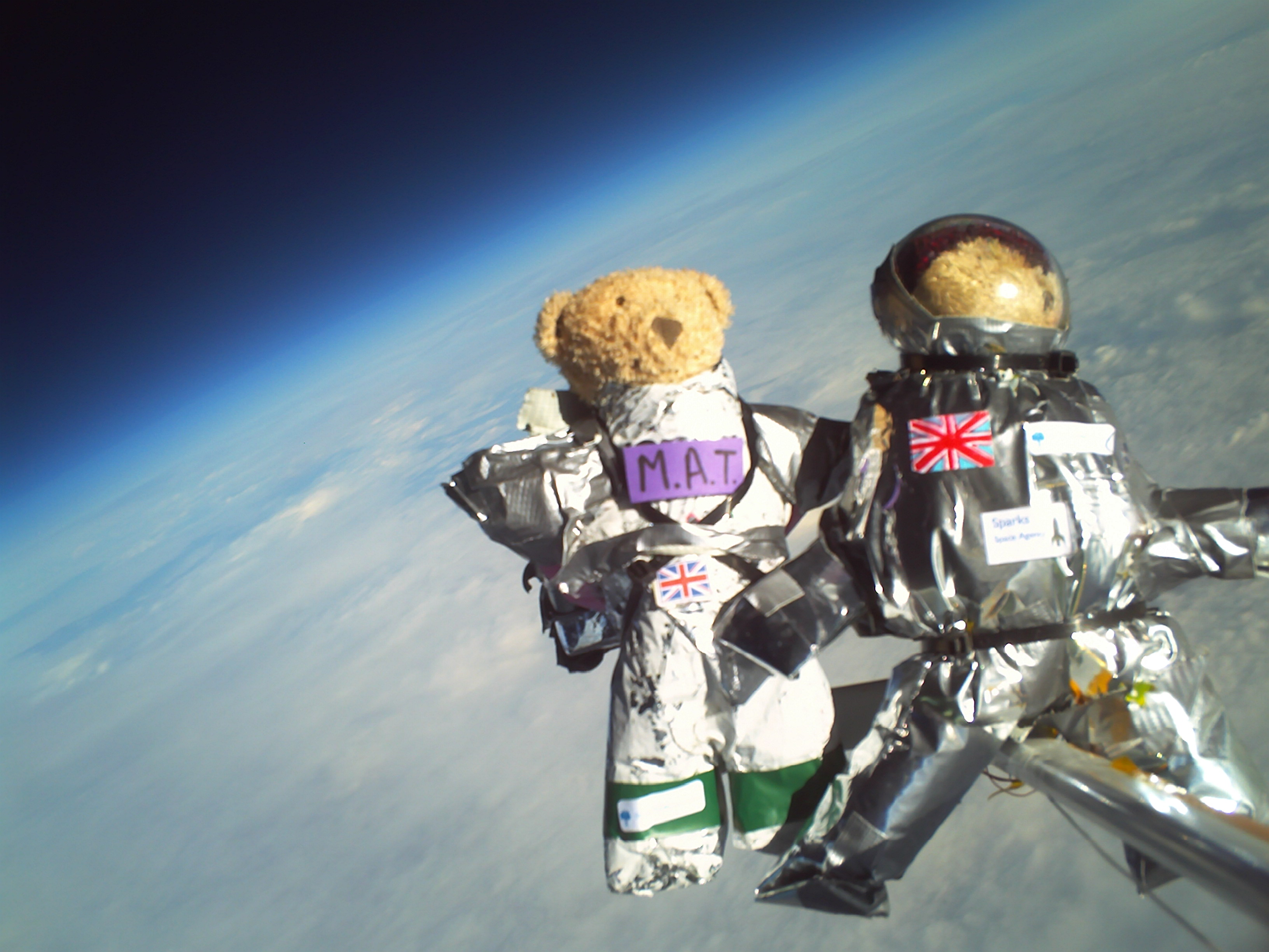 Two of the teddy bears imaged in Near Space.  Credit: CU Spaceflight