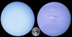 Uranus and Neptune, with Earth, for comparison. Image credit: NASA