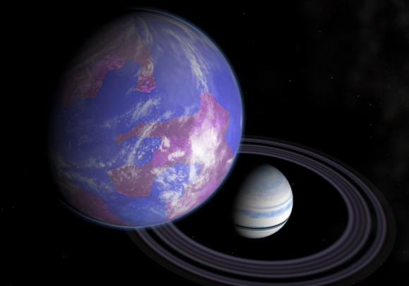 An artist impression of an exomoon orbiting an exoplanet, could the exoplanet's wobble help astronomers? (Andy McLatchie)