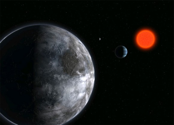 Artist illustration of a super Earth around Gliese 581