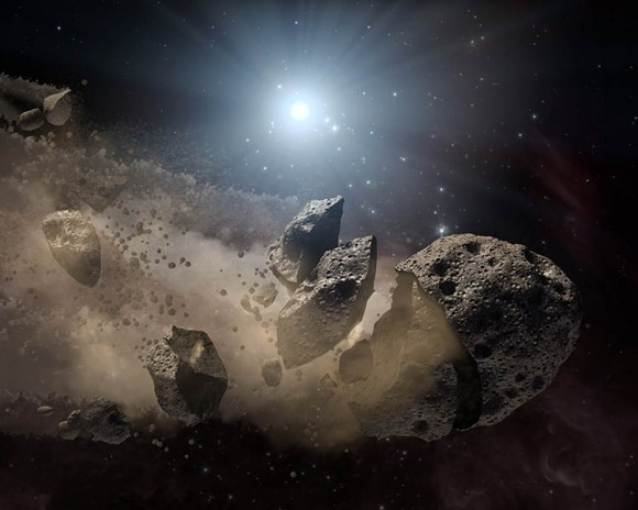 Artists concept of shredded asteroid around white dwarf. NASA/JPL-Caltech