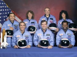 Challenger Crew - The crew of STS-51-L: Front row from left, Mike Smith, Dick Scobee, Ron McNair. Back row from left, Ellison Onizuka, Christa McAuliffe, Greg Jarvis, Judith Resnik.