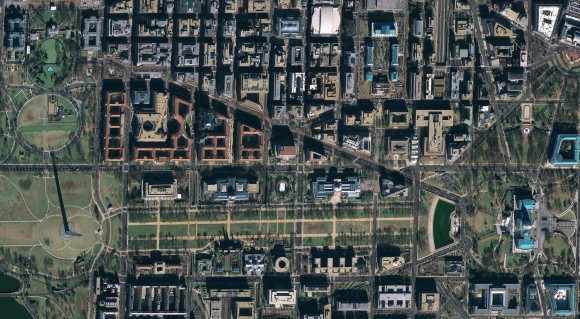 Washington D.C. from orbit. The Google Satellile GeoEye-1 will spy on Obama&#39;s inauguration (Google)