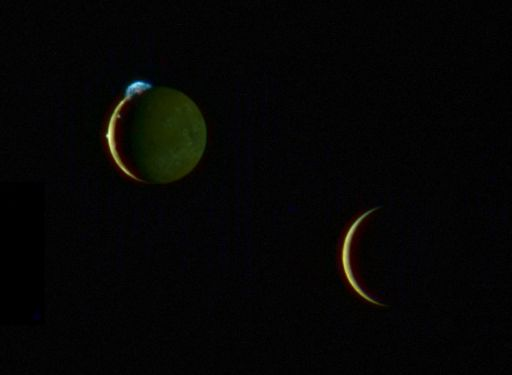 Io and Europa together.  Credit: NASA / JHUAPL / SwRI / Emily Lakdawalla 