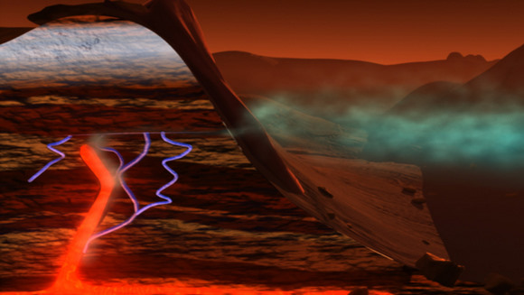 "In this illustration, subsurface water, carbon dioxide and the planet's internal heat combine to release methane. Although we don't have evidence on Mars of active volcanoes today, ancient methane trapped in ice ""cages"" might now be released. Credit: NASA/Susan Twardy"