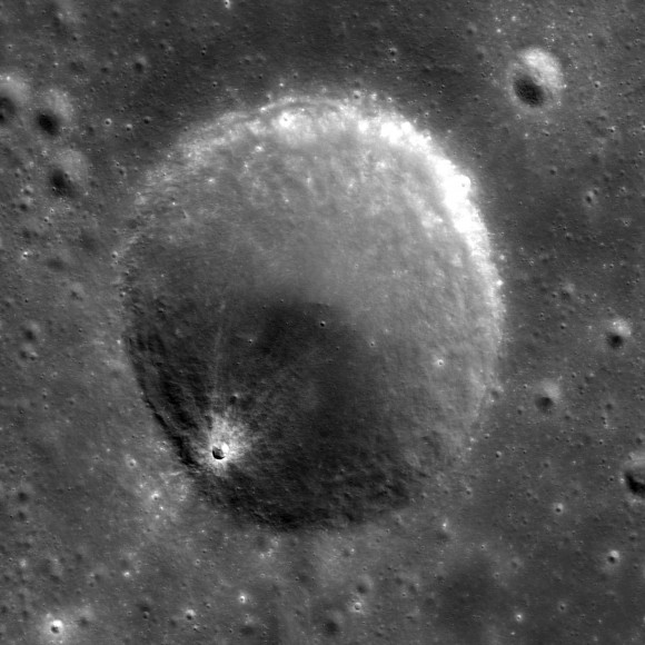 Lunar crater from the TMC.  Credit:  ISRO