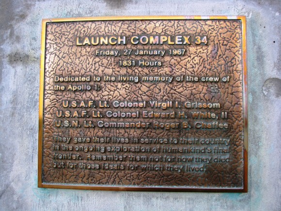 A plaque attached to the side of the remains of pad 34. A solemn reminder of a black day in space history.