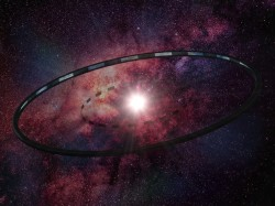An artistic rendering of Larry Niven&#39;s Ringworld