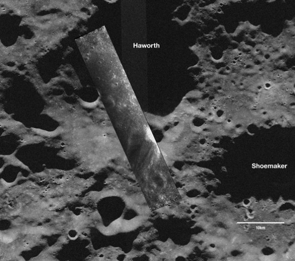 A Mini-SAR strip overlain on an Earth-based, Arecibo Observatory radar telescope image. Taken Nov. 17, 2008, the south-polar SAR strip shows a part of the moon never seen before