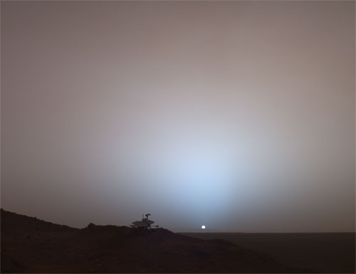"Special-Effects Spirit Silhouetted on ""Jibsheet"" Image Note: Rover model by Dan Maas; synthetic image by Koji Kuramura, Zareh Gorjian, Mike Stetson and Eric M. De Jong.   Image credit: NASA/JPL-Caltech/Cornell"