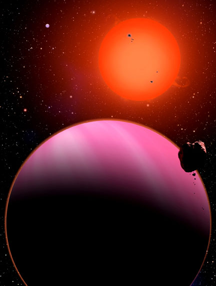 This artist's conception reveals the newly discovered Super-Neptune planet orbiting a star 120 light years away from Earth. Normally blue in color, its red hue is caused by the illumination from the nearby Red Dwarf star. Credit: David A. Aguilar (CfA)