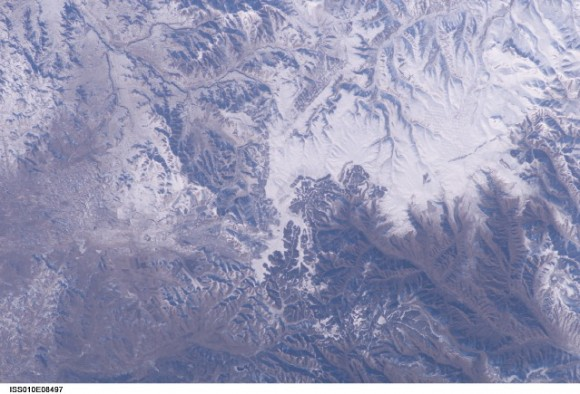 This picture, apparently the first verifiable photo of the Great Wall of China shot from low Earth orbit, was taken by International Space Station Commander Leroy Chiao on Nov. 2