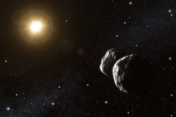 Artist's impression of the asteroid (234) Barbara. Thanks to a unique method that uses ESO's Very Large Telescope Interferometer, astronomers have been able to measure sizes of small asteroids in the main belt for the first time. Their observations also suggest that Barbara has a complex concave shape, best modelled as two bodies that may possibly be in contact. Credit: ESO/L. Calçada