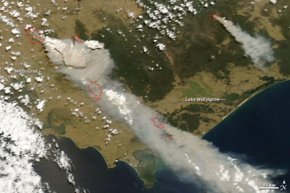 Satellite image of bushfires in southeast Australia taken Feb. 7, 2009.  NASA image courtesy the MODIS Rapid Response Team, NASA Goddard Space Flight 