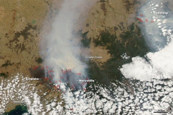 Satellite image aquired Feb. 9 of southeastern Australia bushfires. NASA image courtesy the MODIS Rapid Response Team, GSFC. 