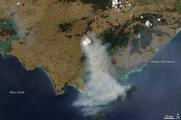 Satellite image of Australian bushfires from January 30, 2009.  NASA image created by Jeff Schmaltz, MODIS Rapid Response Team, Goddard Space Flight Center.