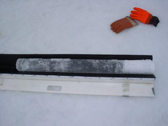 Ice core sample.  Credit:  University of Alaska Geophysical Institute