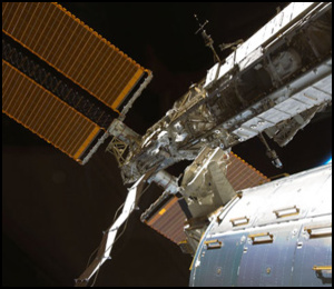 A view of ISS modules and solar panels.  Credit: NASA