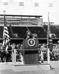 John F. Kennedy speaking at Rice University in 1962. How times have changed (NASA)