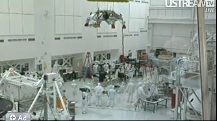 Screen shot of the MSL clean room from UStream video.